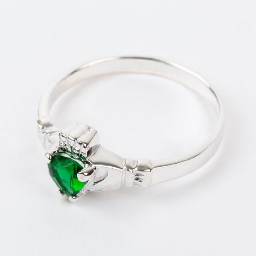 Sterling Silver Claddagh Ring Birthstone for May